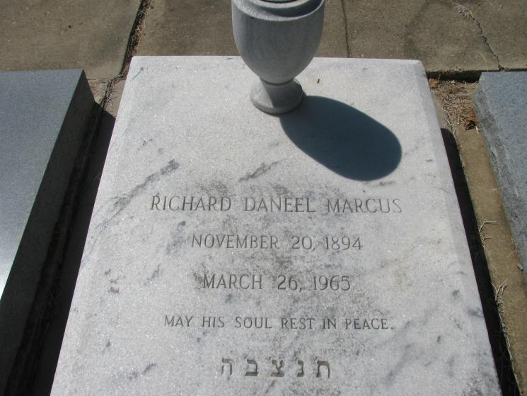 The headstone for Mr. Marcus.