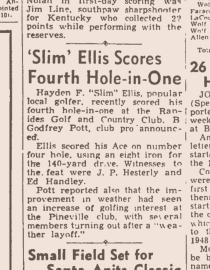"""""""Slim"""" Ellis and his talent in golf."""
