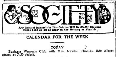 Ruth hosted the Business Women's Club in 1923.