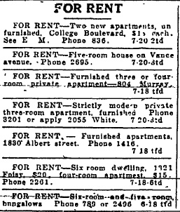 Mrs Flower listed both apartments for rent in 1932.