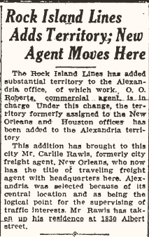 Carlile Rawls moves to Alexandria for a time, 1934.