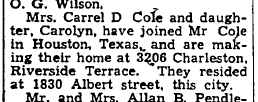 Mrs. Cole joins her husband in Houston, 1942.