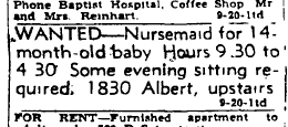 1946, a nursemaid was hired.