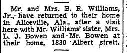 The Bowens occupying 1830 Albert, 1947.