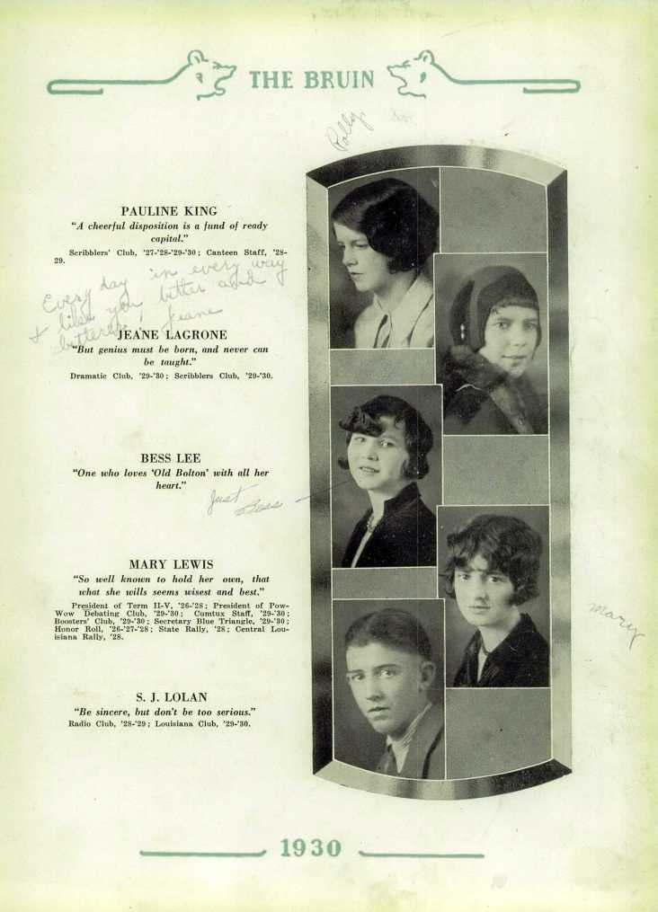 Jeane LaGrone in Bolton High School's 1930 yearbook.