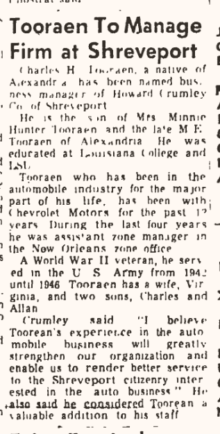 Charles H. Tooraen announced as new manager of auto dealership in Shreveport- The Town Talk September 15, 1953