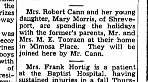 Holidays at Mimosa Place- The Town Talk December 16, 1946