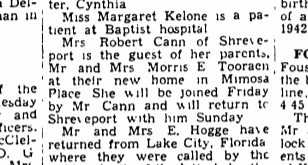 Mrs. Robert Cann visits parents' new home- The Town Talk March 4, 1942