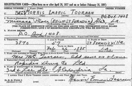 World War II 1942 Draft Registration